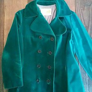 Vintage teal velvet coat